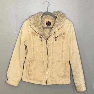 Giacca Corduroy Faux Fur Hooded Jacket S